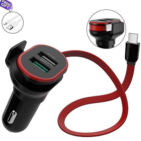 Quick Charge 3.0 cargador de coche XDODD 3 Puertos 45W con clavija Type C Cargador Móvil Coche Adaptador Automóvil para Samsung Galaxy S8 / Note 8 / ...