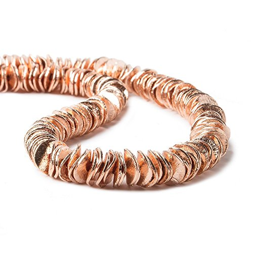 6mm Rose Gold Plated Copper Bead Round Wiggle Disc 8 inch 198 - Plated Disc Gold Beads