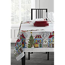 "Christmas Village Fabric Printed Tablecloth, 60"" x 104"""