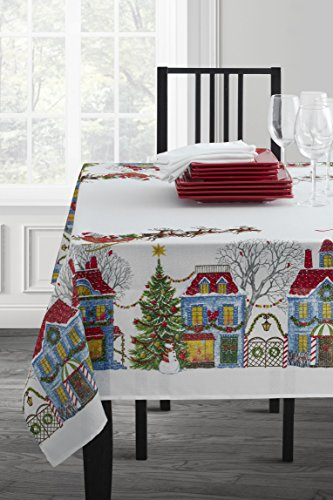 Christmas Village Fabric Printed Tablecloth, 60