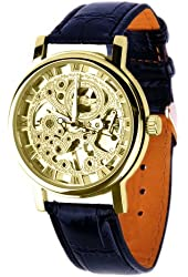 ShoppeWatch Mens Mechanical Skeleton Watch Hand Wind Up Gold Dial Black Leather Strap MW-06