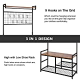 HOMEKOKO Industrial Coat Rack Shoe Bench, Hall Tree Entryway Storage Bench with Grid, Large Size, Wood Look Accent Furniture with Metal Frame