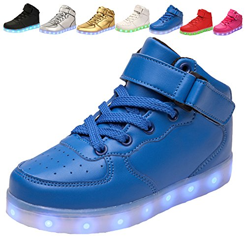 adituo Kids Girls and Boys High Top USB Charging LED Shoes Flashing Sneakers(Toddler/Little Kid/Big Kid) -
