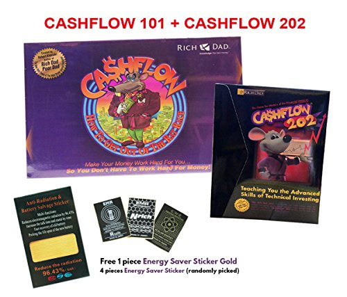 Cashflow 101 Board Game + Cashflow 202 Board Game Robert Kiyosaki + FREE GIFT Energy Saver Sticker