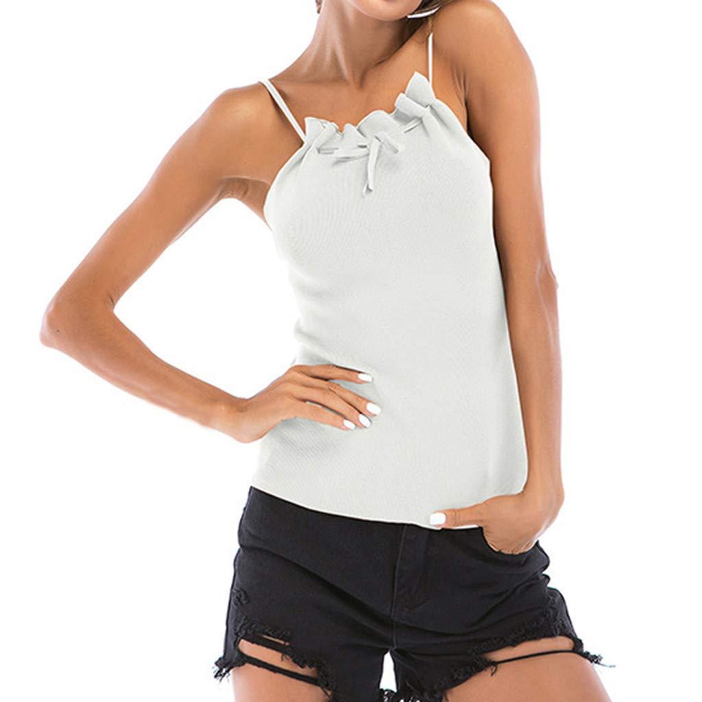 Hotkey Womens Short Sleeve Tops Plus Size Women's Bow Hanging Neck Vest Open Back Knit Camisole Tank White