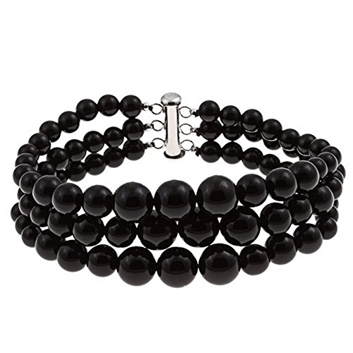 3 Row Natural Black Onyx Round Journey Beads Bracelet for Women Sterling Silver Clasp