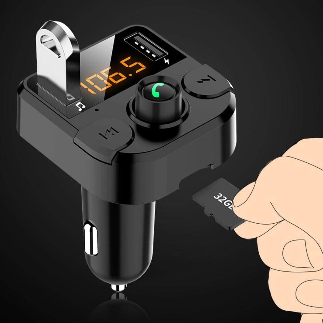 OIYINM77 Trasmettitore FM per Lettore MP3 Vivavoce per Caricabatterie USB per Auto 3.1A Senza Fili Bluetooth Custodie con Batteria Integrata