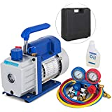 SHZOND Vacuum Pump 3.5CFM 1/4HP Single Stage Air Vacuum Pump HVAC with R134A Kit AC A/C Manifold Gauge Set