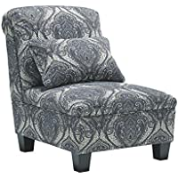 Ashley 8700246 Navasota Armless Chair with Pillow Included Tapered Legs Piped Stitching Fabric Upholstery Tight Back and Seat in Regal