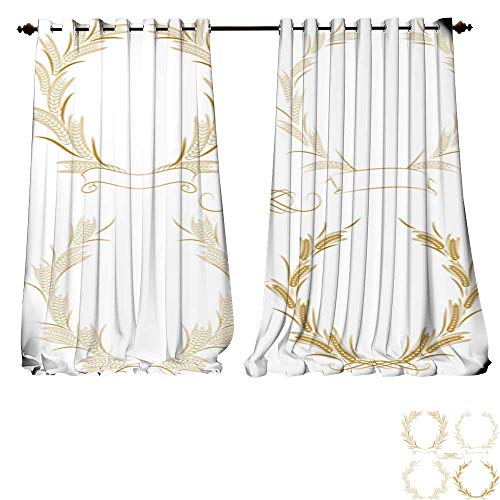 4 Wheat Light Chandelier (DESPKON-HOME Customized Curtains Wheat wreath1 Thermal Insulated Blackout Curtains -W72 x L84/Pair)