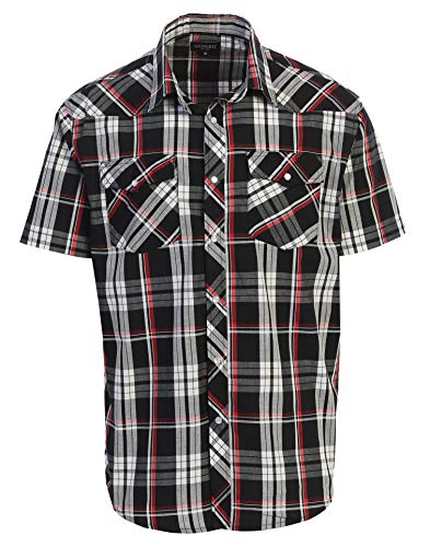 Gioberti Men's Plaid Western Shirt, Black Red Checked, Medium