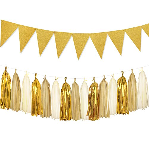 Sparkly Paper Pennant Bunting Banner Triangle Flags 8.5 Feet and Tissue Paper Tassel Garland 15 pcs for Birthday Party, Baby Shower, Wedding Photo Booth Props Decoration, Glitter Gold (Tissue Paper Banner)