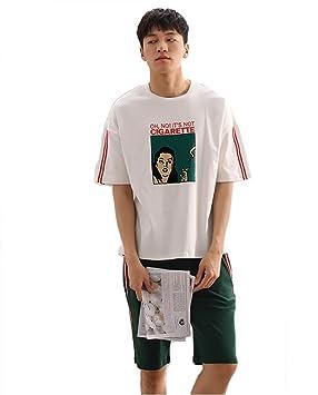 pareja de pijamas camisón de algodón mujer Hombres Sobredimensionado Manga corta Conjunto de pijamas Suave Ropa