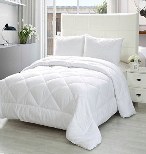 Comforter Duvet Insert White - Quilted Comforter with Corner Tabs - Plush Siliconized Fiberfill, Box Stitched Down Alternative Comforter, Machine Washable by (Box White Tab)
