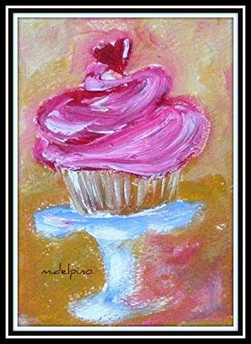 ACEO oil painting PRINT pink cupcake double matted to 5 x 7 inches. ()