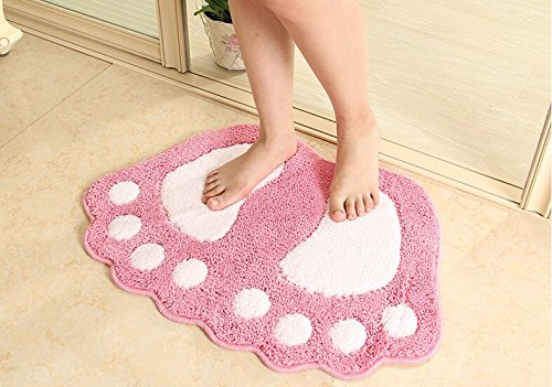 Eleoption Non-Slip Bath Toilet Mat Area Rugs Carpet Doormat Floor Soft Mat,Cute Water Absorbent Shag Bath Mat Washable Basic Rug Kitchen Foot Pad Rug (Pink, 19''x26'') by Eleoption