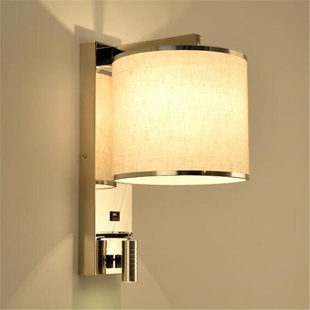 CGJDZMD Wall Sconce Wall Lights Modern E27 Bedside Stainless Steel Wall Lamp with Adjustable LED Reading Lamp and USB Charging Interface for Living Room Bedroom Hotel Wall Lamp