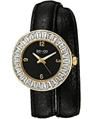 SO&CO New York Womens 5070.1 SoHo Crystal Accent 23K Gold-Tone Case Luminous Hands With Black Wraparound Leather...