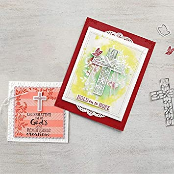Color: Dies Xennos Cross Hope Dies Clear Stamps and Dies for Scrapbooking Craft Card Metal Cutting Dies New 2019 Stamp Sets with Dies