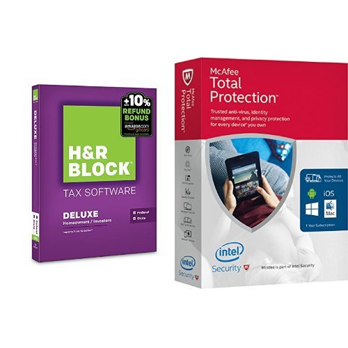 H&R Block 2015 Deluxe + State Tax Software + Refund Bonus Offer and McAfee 2016 Total Protection