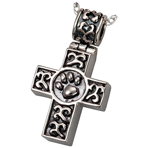 Memorial Gallery Pets 3099s Paw Print Cross Sterling Silver Cremation Pet Jewelry by Memorial Gallery Pets