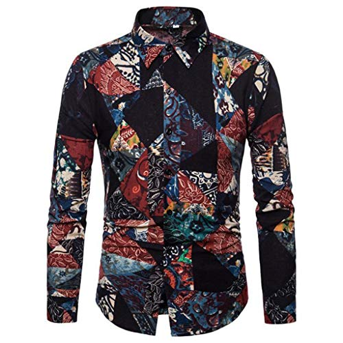NIUQI Mens Vintage Ethnic Printed Turn Down Collar Long Sleeve Loose Casual Shirts -
