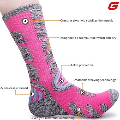 Review Gosuban 2 Pairs Antiskid Wicking Outdoor Multi Performance Hiking Cushion Socks for Men and Women, Assort Colors(Assortment Black Pink)