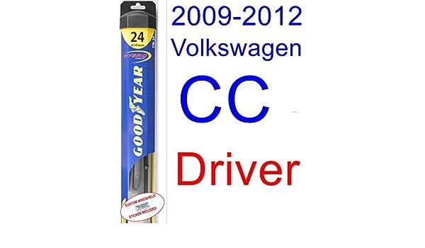 2009 - 2012 Volkswagen CC hoja de limpiaparabrisas de repuesto Set/Kit (Goodyear limpiaparabrisas blades-hybrid) (2010,2011): Amazon.es: Coche y moto
