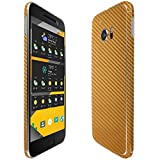Skinomi TechSkin - HTC 10 Screen Protector (One 10,M10) + Gold Carbon Fiber Full Body Skin / Front & Back Wrap Clear Film / Ultra HD and Anti-Bubble Shield