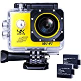 EDC gogo Sports Action Camera Ultra HD Waterproof DV Camcorder 4K WIFI Cam 1080P 170 Degree Wide Angle Yellow