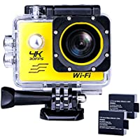 Sports Action Camera Ultra HD Waterproof DV Camcorder 4K WIFI Cam 1080P 170 Degree Wide Angle Yellow