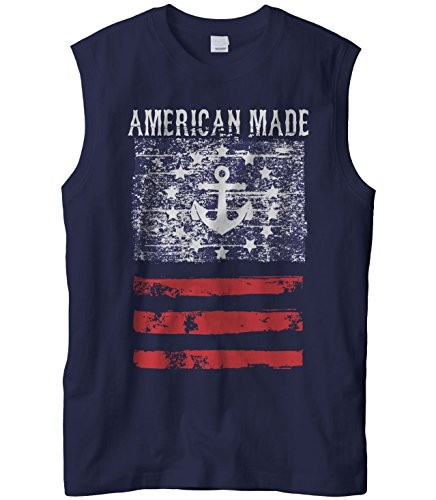 Cybertela Men's American Made Faded Anchor Flag Sleeveless T-Shirt (Navy Blue, X-Large)