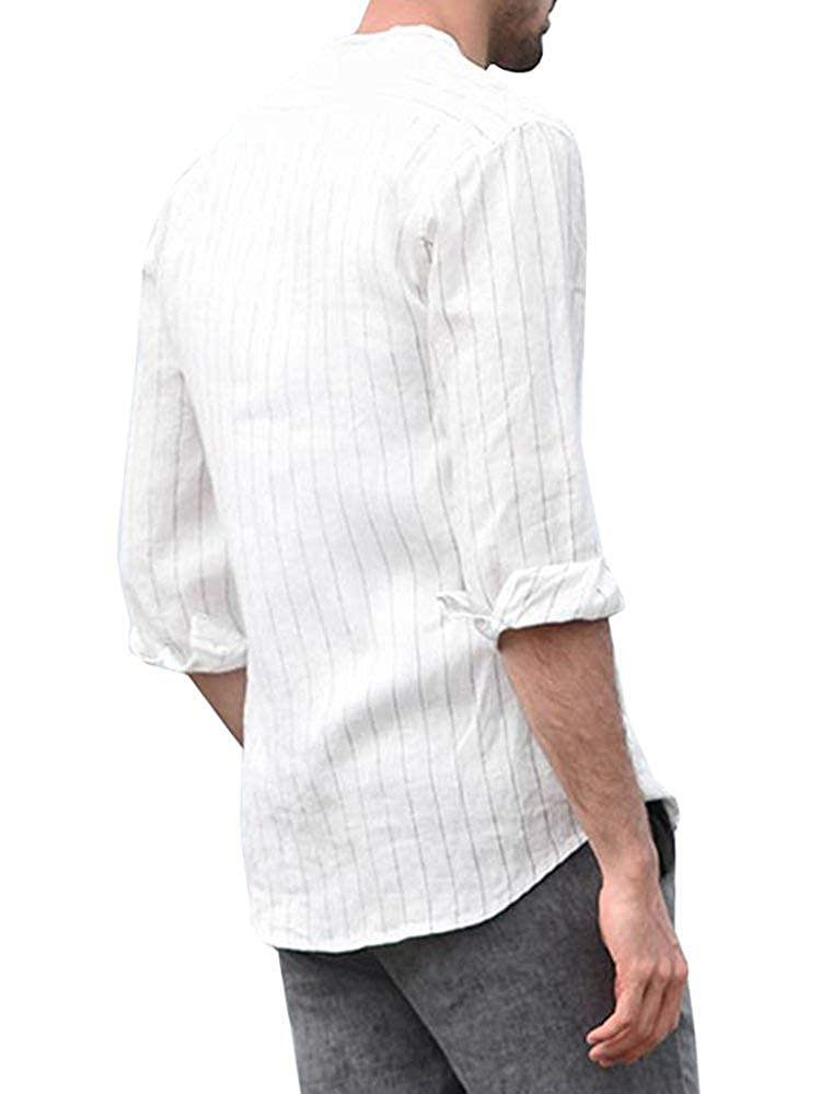 Puwany Mens Long Sleeve Linen Button Down Stripe Casual Top Swag Curved Hem Henley Shirts