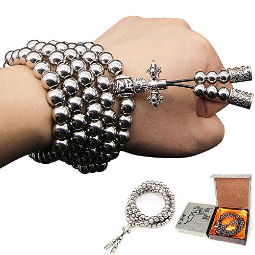 Stainless Bead (Nireus Jewelry Outdoor Self Defense Stainless Steel 108 Buddha Beads Necklace Chain (Full Stainless Steel))