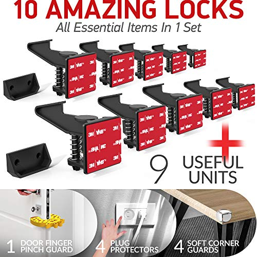 Cabinet Locks Child Safety Latches - 10 Pack Adhesive Child Proof Cabinet Locks - Baby Safety Cabinet Locks - Child Locks for Cabinets and Drawers - Corner & Door Guards, Socket Covers