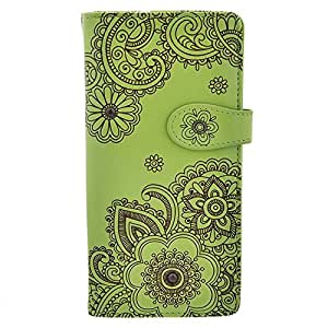 Shagwear Women's Large Zipper Wallet Henna Design Lime