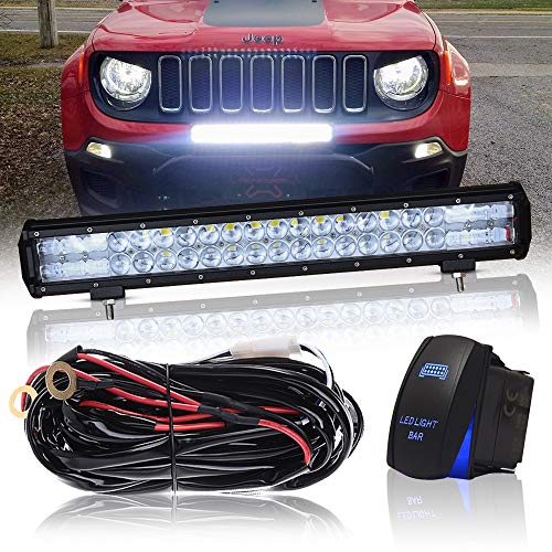 """DOT 20"""" Inch 126W Led Light Bar Combo Grill Windshield Bumper Light Bar + 1x Rocker Switch + 1x Wiring Harness for Trailer Boat SUV ATV Truck Jeep Wrangler Dodge Chevy Ford F150 F250 Tractor Toyota"""
