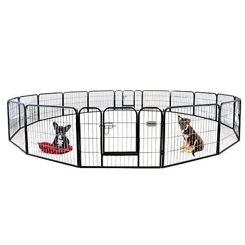PetPremium Dog Pen Metal Fence Gate Portable Outdoor RV Play Yard | Heavy Duty Outside Pet Large Playpen Exercise | Indoor Puppy Kennel Cage Crate Enclosures | 24' Height 16 Panel