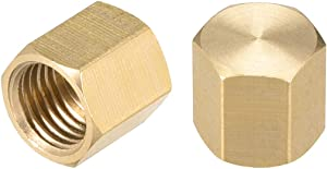 uxcell 1/4SAE Pipe Fitting Valve Cap, Brass Hex Female Thread Hose Connector, for Garden and Outdoor Water Pipes Nozzle Joints, 2Pcs