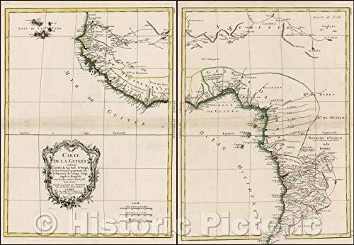 Historic Map | Carte de la Guinee contenant les isles du Cap Verd, le Senegal / 18th century Map of the Cape Verde Islands and the West Coast of Africa, 1771 | Vintage Wall Art 36in x 24in