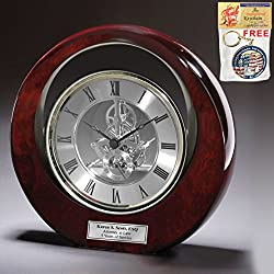 Executive Engraved Silver Gear Da Vinci Eclipse Dark Cherry Personalized Desk Clock Employee Recognition Service Award Wedding Anniversary Desk Clock Retirement Coworker Boss Colleague