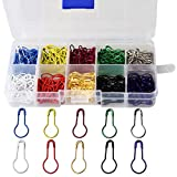 wotu 300 Pcs Bulb Pins, Colors Marker Tag Pins Safety Pins Metal Calabash Pins with Storage Box for DIY Craft Making Clothing Knitting Stitch Marker