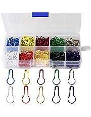 wotu 300 Pcs Bulb Pins, Colors Marker Tag Pins Safety Pins Metal Calabash Pins with Storage Box for DIY Craft Making Clothing Knitting Stitch Marker