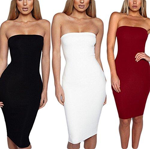 Black Strapless Mini Dress - Zaaale Women's Basic Strapless Stretchy Bodycon Mini Tube Dress (S, Black)