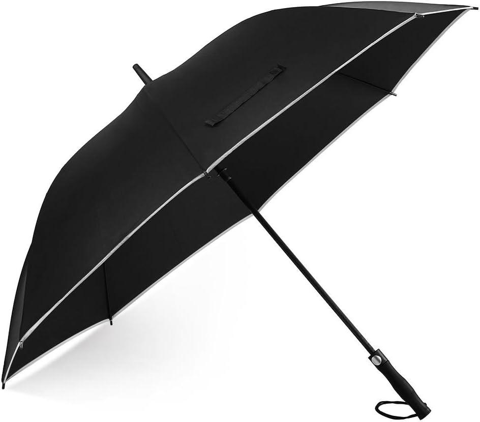 Paraguas de golf extragrande resistente al viento con superficie de 157,48cm (62 pulgadas), borde reflectante, apertura y cierre automático, recto, para hombres y mujeres., negro