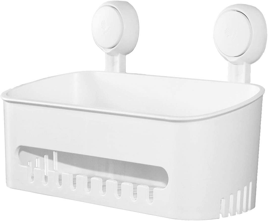 Plastic Shower Caddy Suction Cup Shower Organizer Basket Bath Shelf, Strong Suction Power Bathroom Caddies with Fence Hooks, Kitchen Rack, Waterproof, Oilproof, Reusable, for Sanitizer, Shampoo, Gel