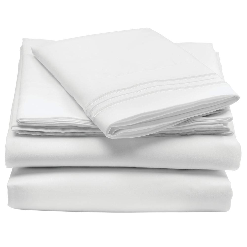 mDesign Twin XL Size Superfine Brushed Microfiber Sheet Set - 3 Pieces - Extra Soft Bed Sheets and Pillowcase - Easy Fit Deep Pockets - Wrinkle Resistant, Comfortable, Breathable - White