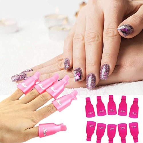 Laliva 10x Popular Plastic UV Gel Polish Remover Wrap Tool Nail Art Soak Off Clip Cap #UY283# - (Color: Pink)