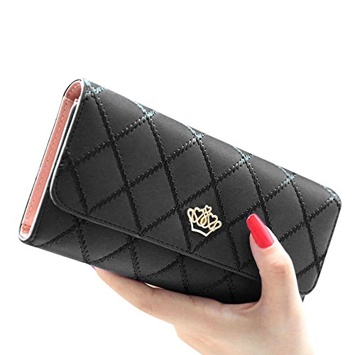 Tonsee Fashion Lady's Clutch Long Purse Leather Wallet (Black Ladies Purse Accessories)