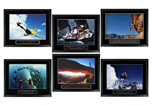 Set of 6 Framed Motivational Posters Complete Office Decor Teamwork Sports by wallsthatspeak